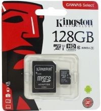 Карта памяти Kingston Canvas Select microSDXC 128Gb Class10 + adapter